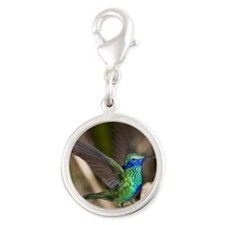 Humming bird on takeoff Silver Round Charm