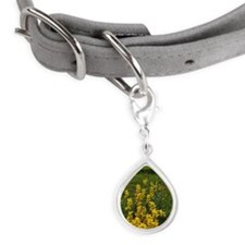 Wild flowers and Maroon Bel Small Teardrop Pet Tag