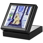 SOFT COATED WHEATEN TERRIER waits at door Tile Box