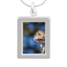 Secret squirrel with bok Silver Portrait Necklace