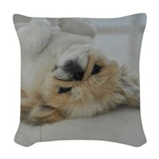 Pekingese dog Woven Throw Pillow