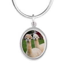 Two alpacas Silver Oval Necklace