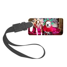 Boston terriers in Christmas cos Luggage Tag