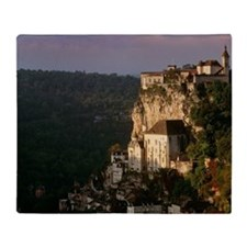 Rocamadour village and church on hil Throw Blanket