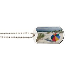 Colorful Umbrella on Beach at Baltic Sea Dog Tags