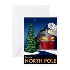 Vintage North Pole Train - Christmas Greeting Card