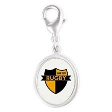 Rugby Shield Black Gold Silver Oval Charm