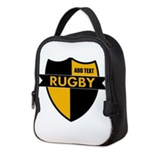 Rugby Shield Black Gold Neoprene Lunch Bag