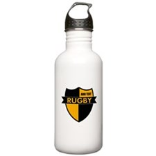 Rugby Shield Black Gold Water Bottle