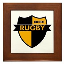Rugby Shield Black Gold Framed Tile