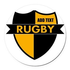 Rugby Shield Black Gold Round Car Magnet