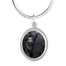 Mountain Gorilla Silver Oval Necklace