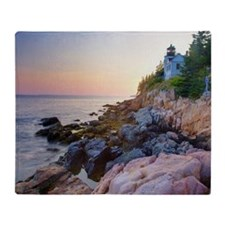 Bass head lighthouse sunset Throw Blanket