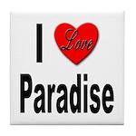 I Love Paradise Tile Coaster