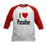 I Love Paradise (Front) Kids Baseball Jersey