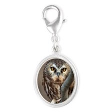 Wild Northern Saw-Whet owl Silver Oval Charm