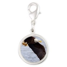 Adult Bald Eagle with fish Silver Round Charm