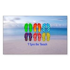 I Love the Beach - Colorful Fl Decal