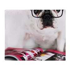 Dog with glasses Throw Blanket