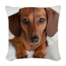 Dachshund under covers Woven Throw Pillow