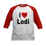 I Love Lodi (Front) Kids Baseball Jersey