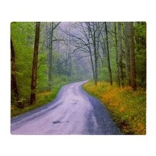 Country road, great smoky mountains Throw Blanket