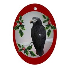 Cute African gray parrot Ornament (Oval)