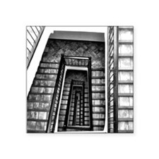 "Black and white stairs Square Sticker 3"" x 3"""