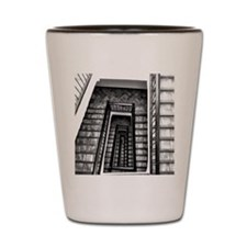 Black and white stairs Shot Glass