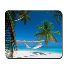 Hammock palm trees hanging sandy shore M Mousepad