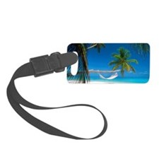 Hammock palm trees hanging sandy Luggage Tag