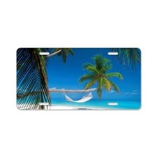 Hammock palm trees hanging  Aluminum License Plate