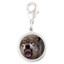 Growling Wolf Silver Round Charm