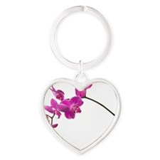 Moth orchid against white backgroun Heart Keychain