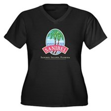 Sanibel Oval Women's Plus Size V-Neck Dark T-Shirt