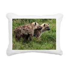 Two hyena pups in green  Rectangular Canvas Pillow