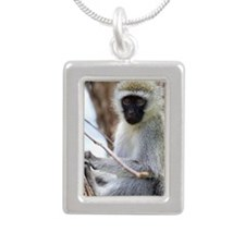 Vervet monkey on tree Silver Portrait Necklace