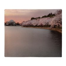 Jefferson memorial and cherry blosso Throw Blanket