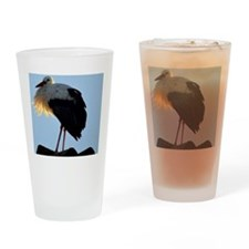 Stork with crescent moon Drinking Glass