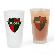 Rugby Shield Green Red Drinking Glass