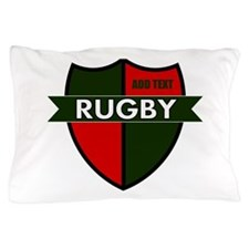 Rugby Shield Green Red Pillow Case