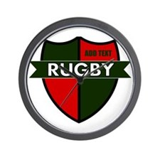 Rugby Shield Green Red Wall Clock