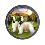 AFGHAN HOUND DOG FALL Wall Clock