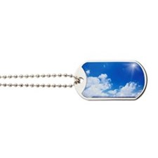 Blue Sky and Sun Over Solar Panels Dog Tags