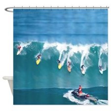 Waimea Big Surf Hawaii Tropical Shower Curtain.