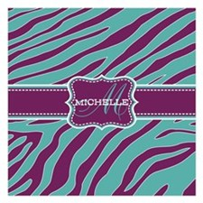 Purple and Teal Animal Print Monogram Invitations x Invitations