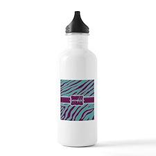 Purple and Teal Animal Print Monogram Water Bottle