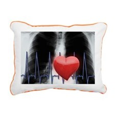 Red heart and EKG over c Rectangular Canvas Pillow