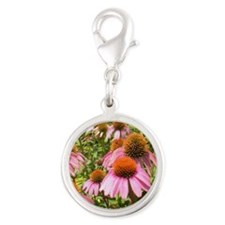 Coneflowers Silver Round Charm