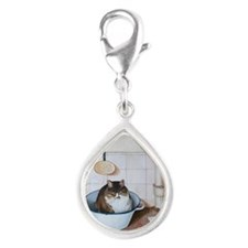 Cat in white vessel Silver Teardrop Charm